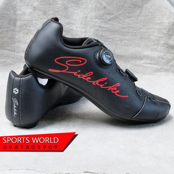 Giày can đạp xe, 2 khóa vặn, dòng Road - SIDEBIKE SD-019-BLACK-RED