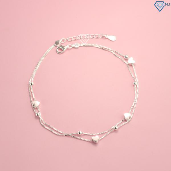 Lắc chân nữ bạc thật dây kép hoạ tiết trái tim nhỏ LCN0030 - Trang Sức TNJ