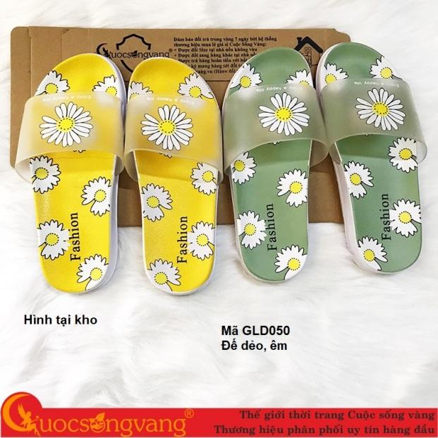 Dép nhựa nữ quai ngang dép nữ in hoa GLD050 giá rẻ