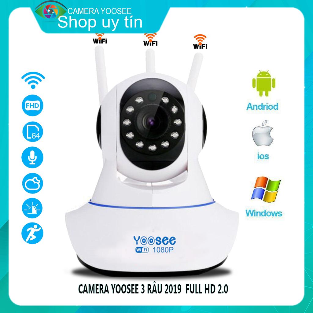 Camera IP Wifi Yoosee 3 Râu 2.0 MP FULL HD,xoay 360 độ Không Dây Phiên Bản 2019,Tích hợp cảm biến hồng ngoại,ghi âm giọng nói,lưu trữ video