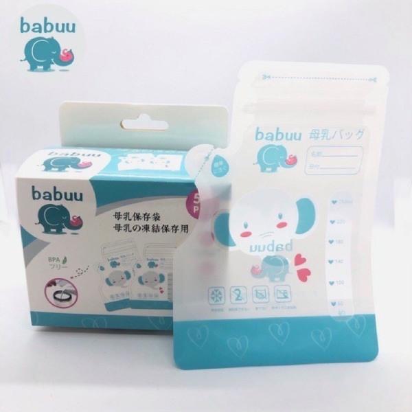 Hộp 50 túi trữ sữa Babuu có vòi rót