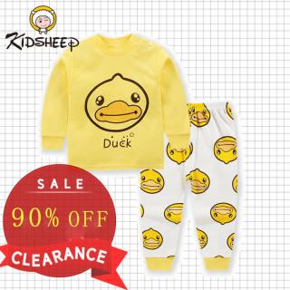Kidsheep Bộ đồ dài tay trẻ em đồ bộ trẻ em bé gái Bộ đồ dài tay Bộ đồ ngủ mặc nhà bằng cotton tinh khiết