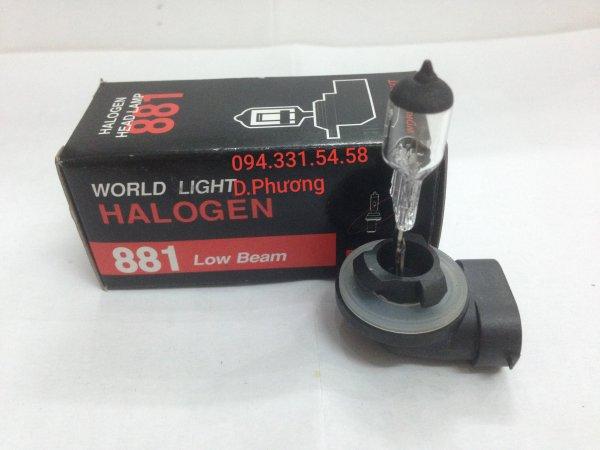 Bóng 881 12V 27W (H27S2). Bóng đèn ô tô World Light. Chuyên các loại bóng đèn halogen giá sỉ