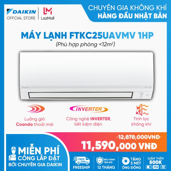 Máy Lạnh Daikin Inverter FTKC25UAVMV - 1HP (9000BTU) Tiết kiệm điện vượt trội - Luồng gió Coanda - Tinh lọc không khí - Khử ẩm 25% - Độ bền cao - Chống ẩm mốc - Chống ăn mòn - Làm lạnh nhanh - Hàng chính hãng