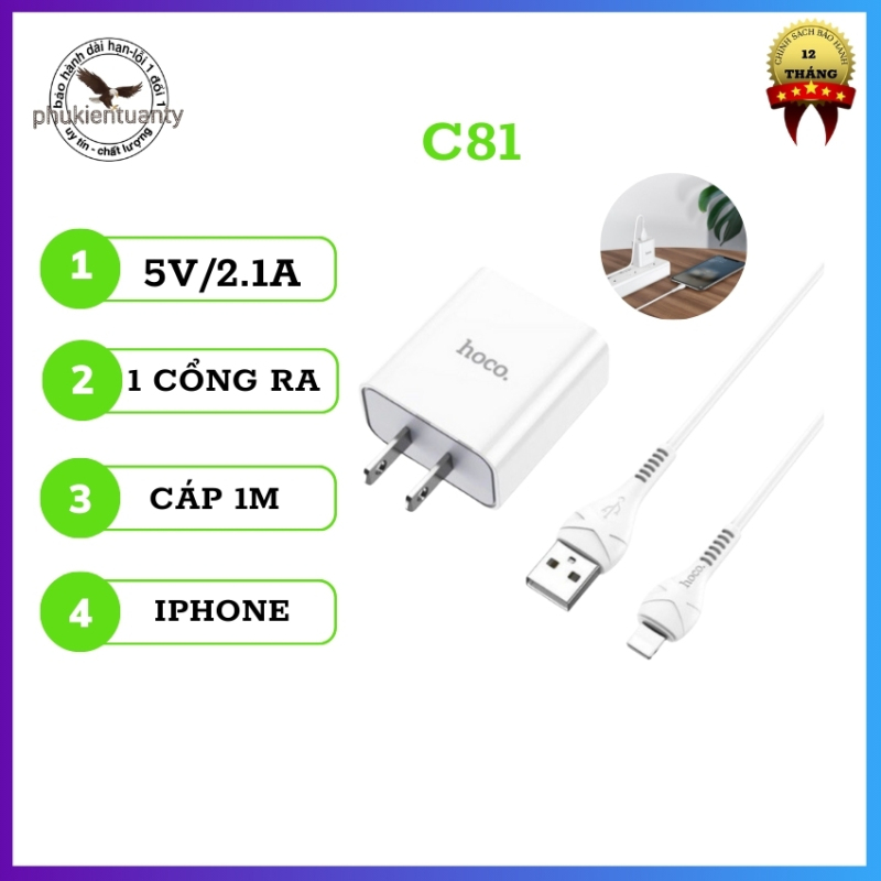 [SALE MAX] Bộ sạc hoco C81 , Đầu ra 5V/2.1A ,vật liệu PC chống cháy.  cáp sạc 1m cho  LIGHTNING,TYPE-C,MICRO-phukientuanty