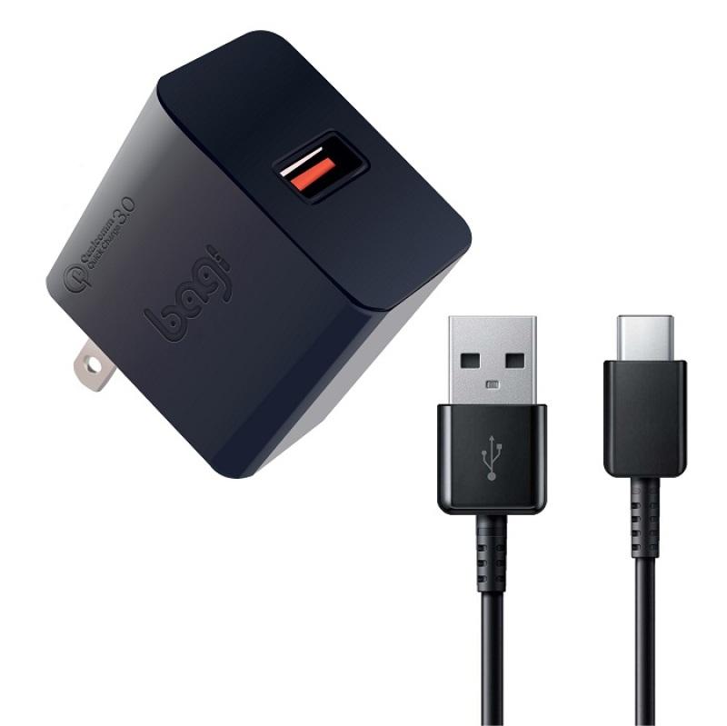 Combo sạc nhanh củ sạc Quick Charge Bagi 3.0 dây sạc Type-C