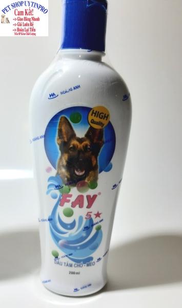 DẦU TẮM CHÓ MÈO Fay 5 Sao hỗ trợ làm sạch ve rận bọ chét Duy trì độ ẩm Khử mùi hôi Làm mượt lông Bảo vệ da Chai 200ml