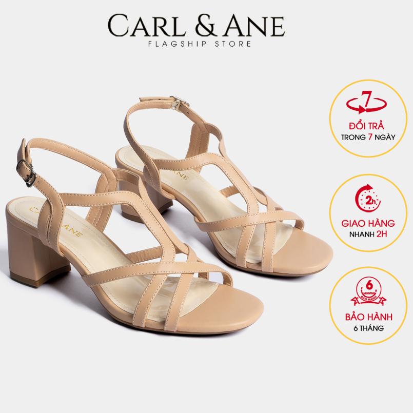 Carl & Ane - Giày sandal phối dây thời trang nữ mũi vuông gót cao 5cm CS002 (NU) giá rẻ