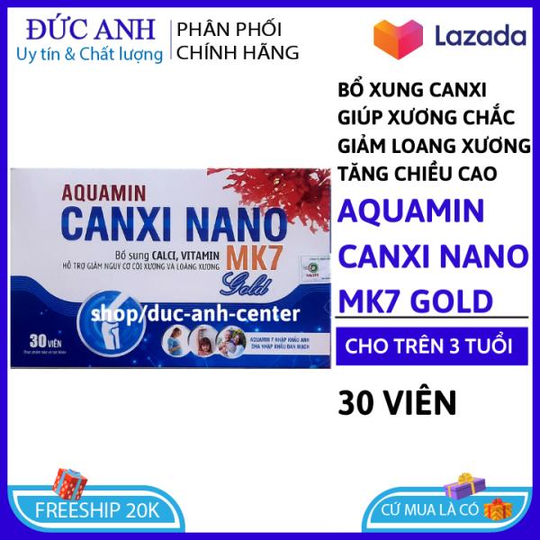 Viên uống bổ sung canxi, Vitamin D3, AQuamin 400mg nhập khẩu anh, anxi MK7 giúp phát triển chiêu cao ở trẻ, giảm loãng xương ở người lớn - hộp 30v HSD 2023 - Vỉ Aquamin Canxi Nano , đức anh center
