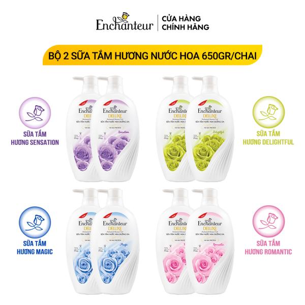 Combo 2 Sữa tắm hương nước hoa Enchanteur Sensation/ Delightful/ Romantic/ Magic 650gr/ Chai