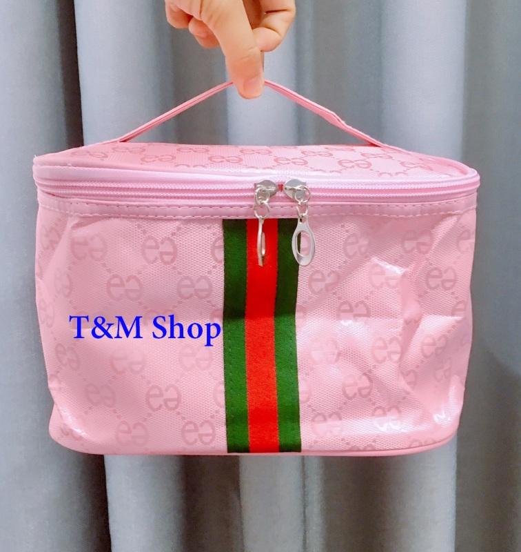 Túi Đựng Mỹ Phẩm Sọc, Size 24*17*16cm có 5 màu Túi chứa đồ trang điểm Makeup làm đẹp đựng được nhiều cọ trang điểm, mỹ phẩm