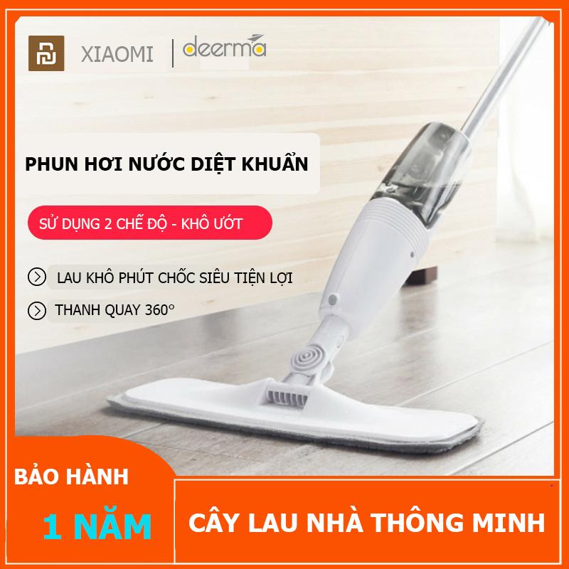 Cây lau nhà hơi nước Xiaomi Deerma Thông minh 2 in 1 - Bông lau sợi carbon, thấm hút siêu tốt