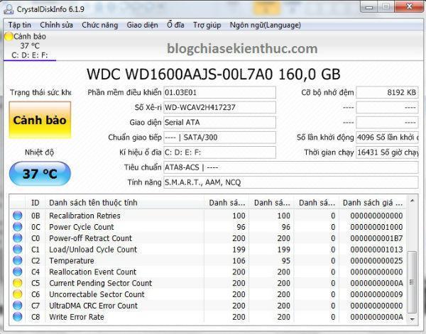 Giá Ổ Cứng HDD Máy tính PC chuẩn SATA 160Gb Caution Kĩ Thuật