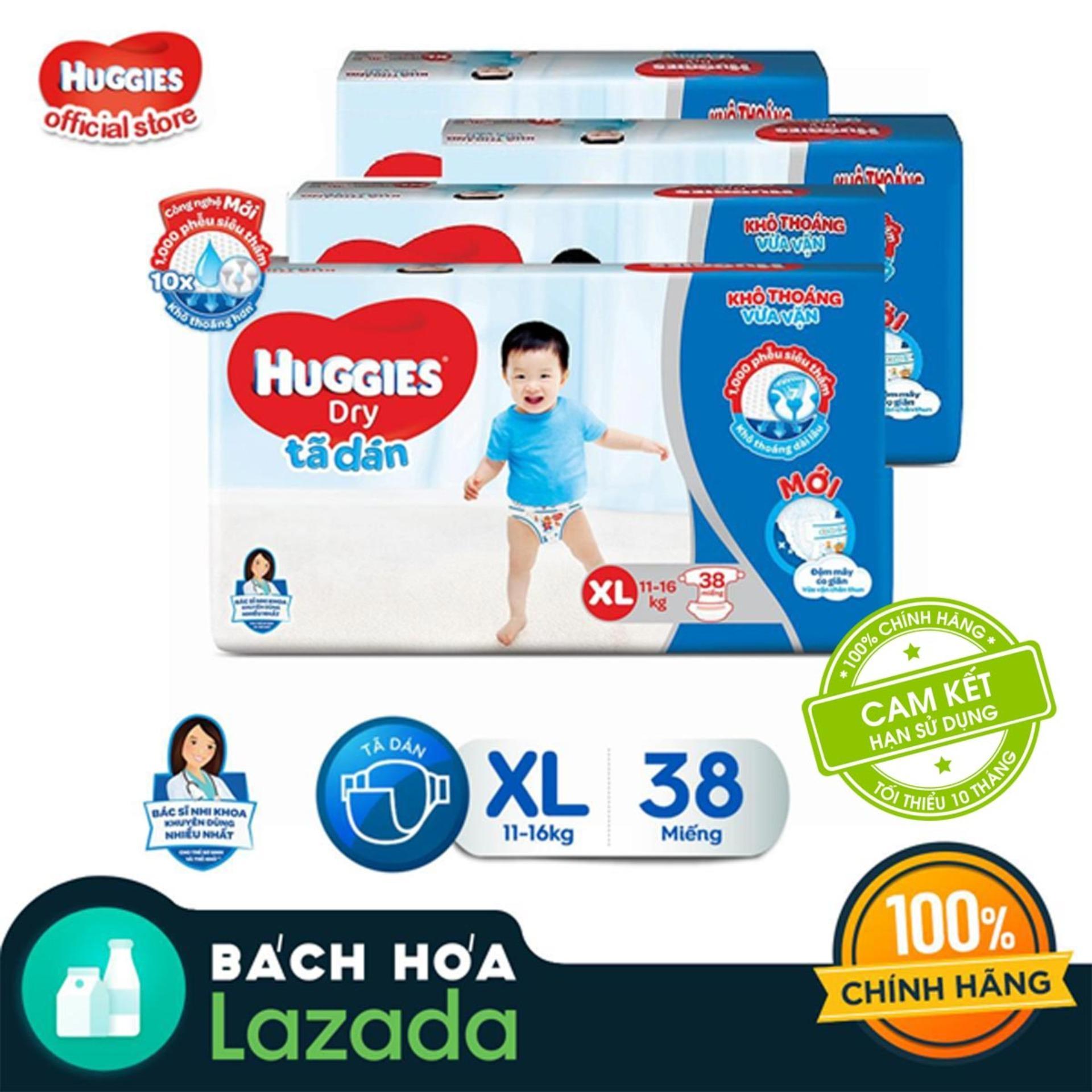 Bộ 4 gói Tã/bỉm dán Huggies Dry Jumbo XL38 MỚI...