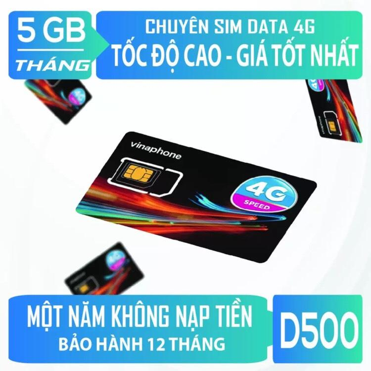 Giá SIM 4G VINAPHONE D500 Trọn Gói 1 Năm Không Nạp Tiền 5GB 1 Tháng