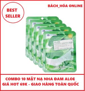 COMBO 10 Mặt Nạ nha đam dưỡng trắng da Aloe natural Mask 3D FOODAHOLIC 23ml thumbnail