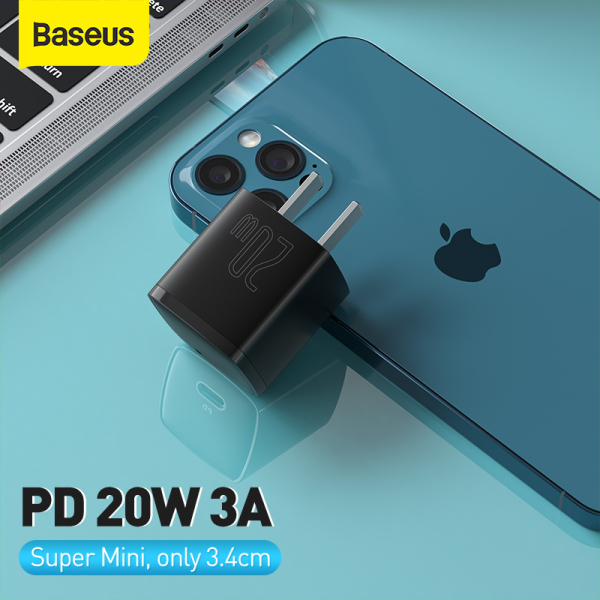 Baseus USB Type C Charger 20W Portable USB C Charger Support Type C PD Fast Charging For iPhone 12 Pro Max 11 Mini 8 Plus