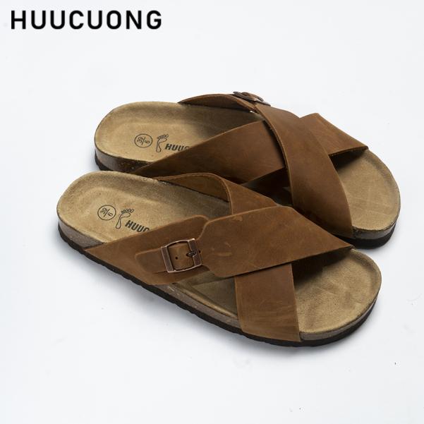 Dép HuuCuong quai chéo khóa da bò nâu đế trấu giá rẻ