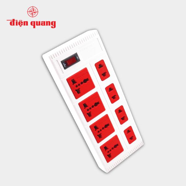 Ổ cắm Điện Quang ECO ĐQ ESK 2WR 8ECO (8 Lỗ, dây dài 2m, màu trắng đỏ)