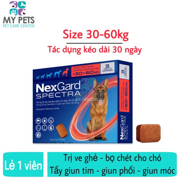 NEXGARD SPECTRA Thuốc trị ve ghẻ, bọ chét, demodex, tẩy giun cho chó - Lẻ 1 viên (size 30-60kg)