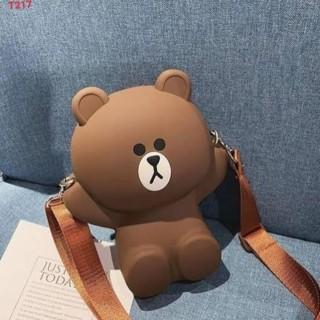 [ LOẠI TỐT ] Túi Đeo Chéo Silicon Hình Gấu Brown Bear Cỡ Lớn Kèm 2 Dây Đeo Chéo TÚI XÁCH NỮ, TÚI ĐEO CHÉO NỮ ĐỰNG ĐIỆN THOẠI túi da đựng điện thoại ví tiền siêu hót 2
