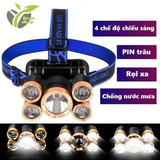 Đèn PIN đội đầu 5 bóng siêu sáng T6, đèn PIN rọi xa đa dụng 4 chế độ thumbnail