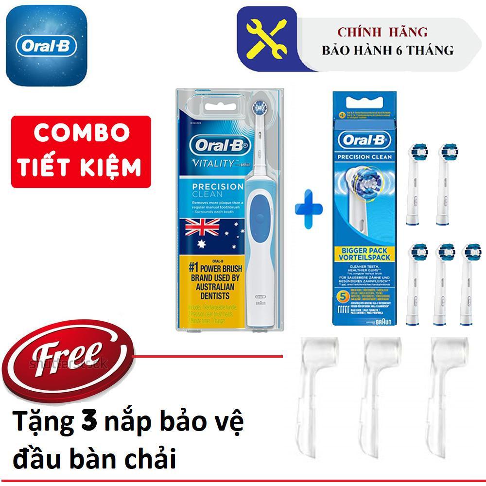 Combo Bàn chải điện Oralb Vitality Precision Clean + Vỉ 5 đầu bàn chải (bảo hành 6T + Tặng kèm 03 nắp chụp đầu bàn chải)
