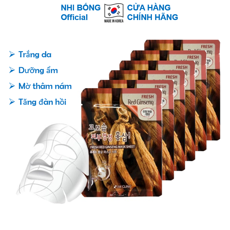 Combo 10 Mặt nạ giấy nhân sâm dưỡng trắng da dưỡng ẩm chống lão hóa chiết xuất nhân sâm đỏ 3W Clinic Hàn Quốc 23mlx10 giúp da trắng sáng mềm mịn MN04