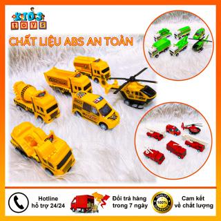 Xe đồ chơi cho bé, Bộ 6 xe mô hình bánh đà, chất liệu nhựa ABS an toàn cho bé. thumbnail
