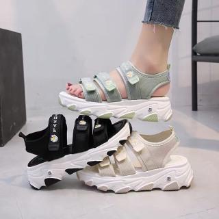 (3 màu) Sandal nữ hoa cúc 3 quai dán fashion thời trang thumbnail