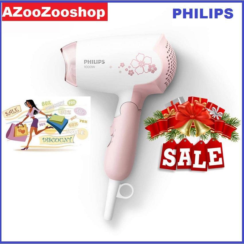 Máy sây tóc mini philips HP8108, 1000W, dễ dàng sấy và tạo kiểu tóc bảo hành 2 năm trên toàn quốc (Hồng trắng) cao cấp