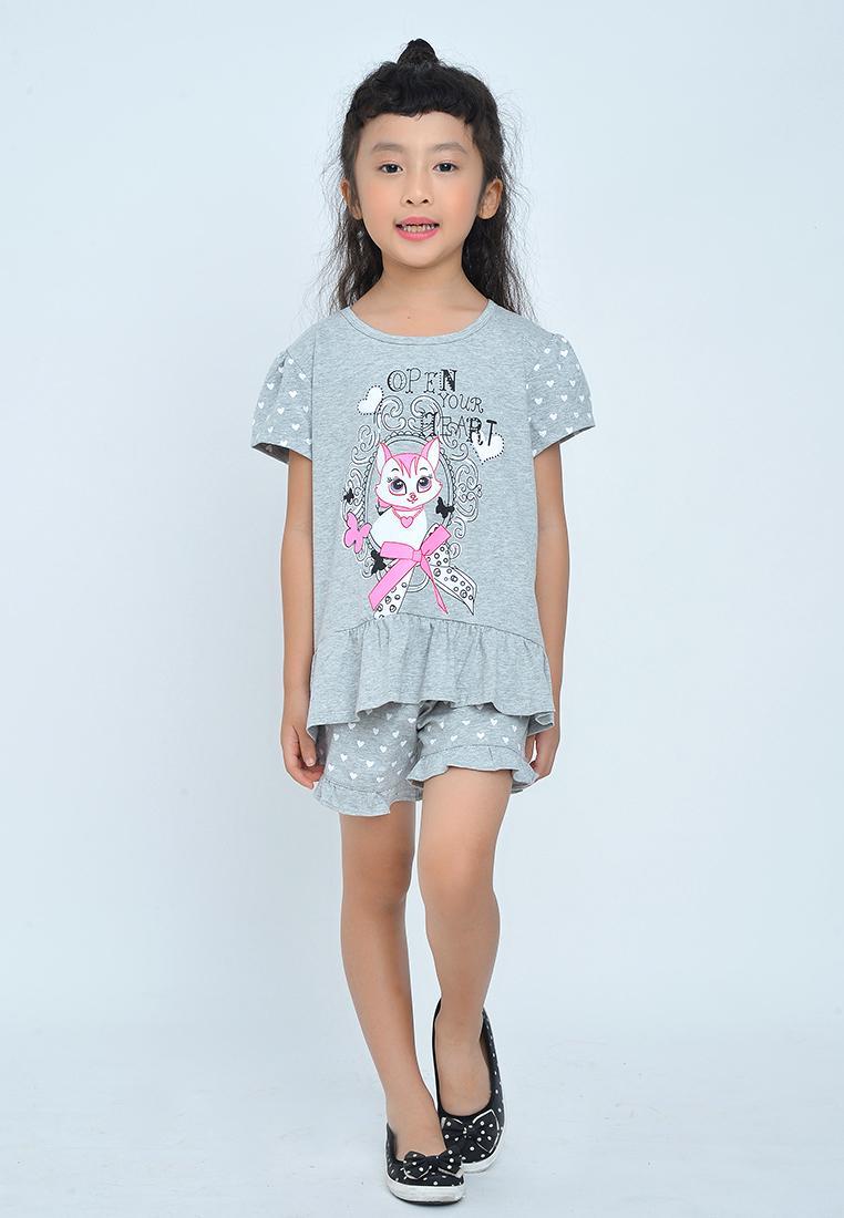 Giá bán Bộ đồ bé gái ngắn tay in hình con mèo đáng yêu - BG908
