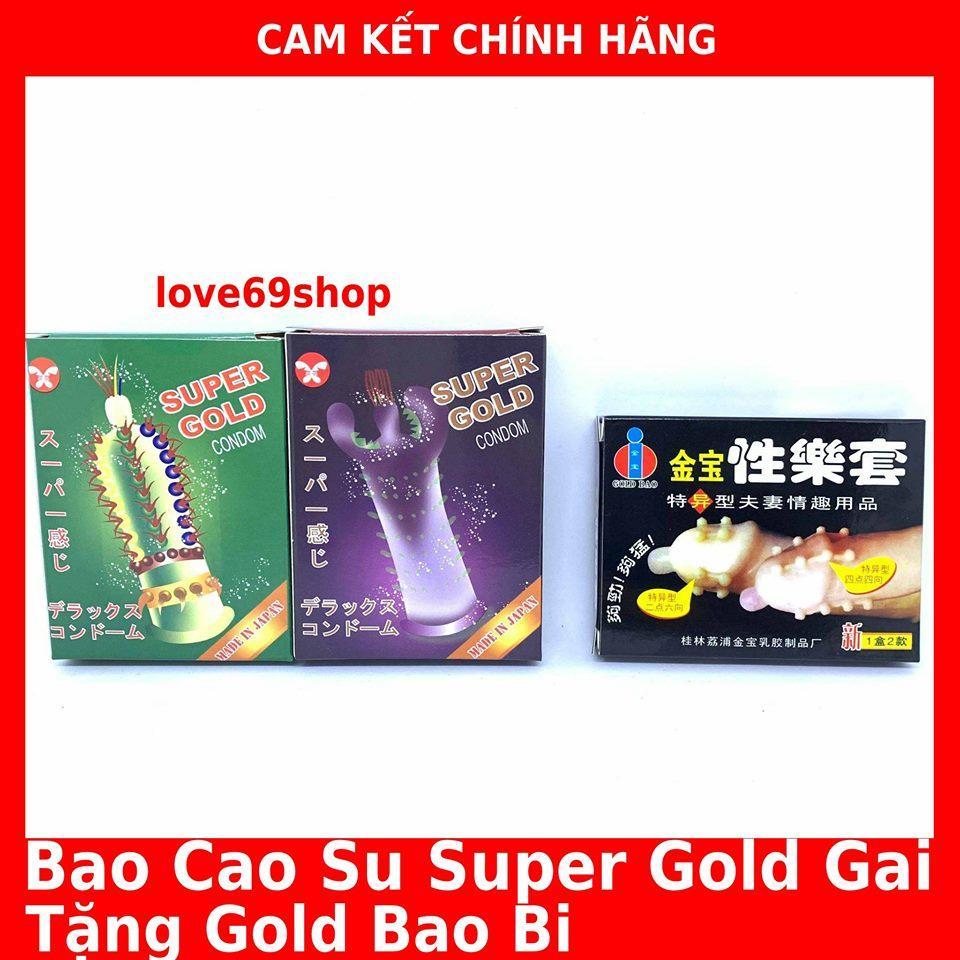 Bao cao su Super Gold (bộ 2 hộp ) + Tặng thêm 1 Hộp Gold Bao Bi 2 chiếc (16 bi chạy dọc thân bao) nhập khẩu