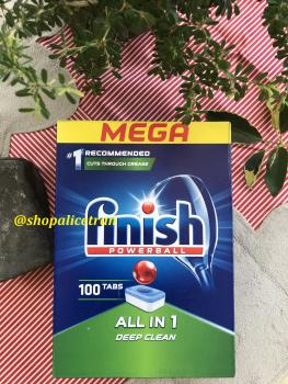 Viên rửa chén bát Finish ALL IN 1 MEGA 100 viên - Finish Powerball All In One Mega Dishwasher Tablets 100 pack SX 05.2020