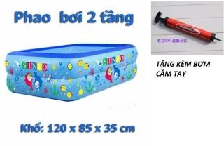 [Loại Dày] Bể bơi phao 2 tầng hình chữ nhật Size 120x95x35 cho bé - Hồ bơi cho trẻ 1,2m ,bể bơi cho bé,bể bơi hai tầng cho bé- TẶNG KÈM BƠM CẦM TAY thumbnail