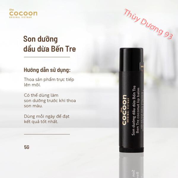 Son dưỡng môi dầu dừa bến tre Cocoon 5g giúp đôi môi mềm mượt, căng mọng, chống khô môi,nứt nẻ, loại bỏ da chết giúp môi hồng hào cao cấp