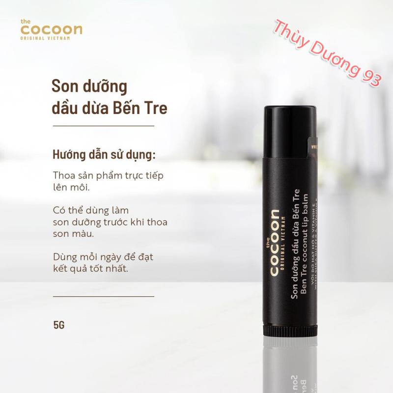 Son dưỡng môi dầu dừa bến tre Cocoon 5g giúp đôi môi mềm mượt, căng mọng, chống khô môi,nứt nẻ, loại bỏ da chết giúp môi hồng hào giá rẻ