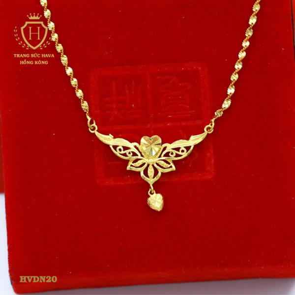Dây Chuyền, Vòng Cổ Nữ Titan Xi Mạ Vàng Trái Tim Đung Đưa - Trang Sức Nữ Hava