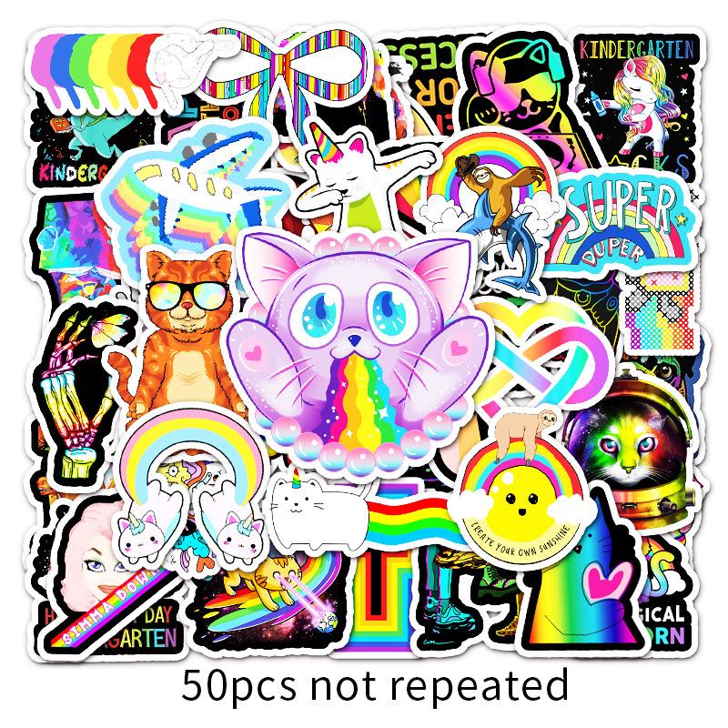 50Màu Màu Sắc Hoạt Hình Graffiti Cá TínhdiyDán Xe Máy Tính Xách Tay Hành Lý Dán Trang Trí Dán Xe Máy thumbnail
