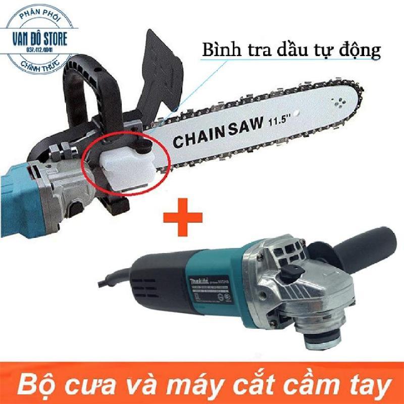 [ Trọn bộ ] Máy mài Makita 9556 + Lưỡi cưa xích Chainsaw MAKITA Công dụng: lắp vào máy mài để tạo thành máy cưa gỗ. Chất liệu: Hợp kim sắt Máy sử dụng ruột lõi ĐỒNG NGUYÊN CHẤT 100%