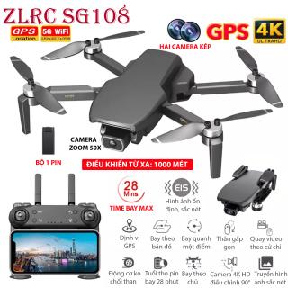 (NEW 2020) BỘ 1 PIN TẶNG BALO - Flycam ZLRC SG108 động cơ không chổi than, Hai camera kép, Camera 4K HD Zoom 50X, điều khiển xa 1000 mét bay 28 phút, Định vị GPS WIFI 5G, Cảm biến bụng ổn định chuyến bay, Chụp ảnh video theo cử chi. thumbnail