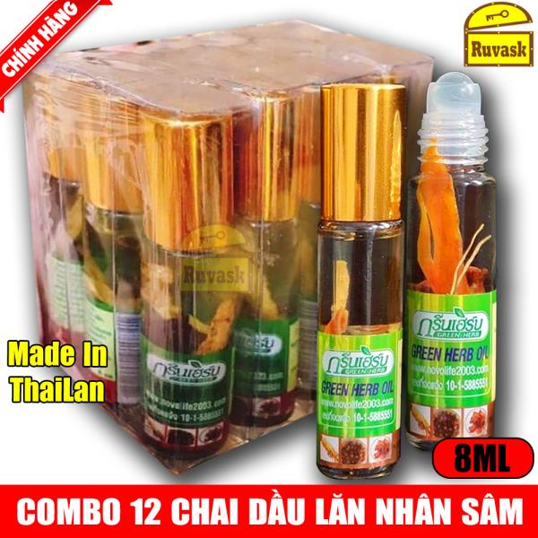 Combo 12 Chai Dầu Lăn Nhân Sâm Thảo Dược Thái Lan GREEN HERB OIL Cao Cấp 8ML - Ruvask nhập khẩu