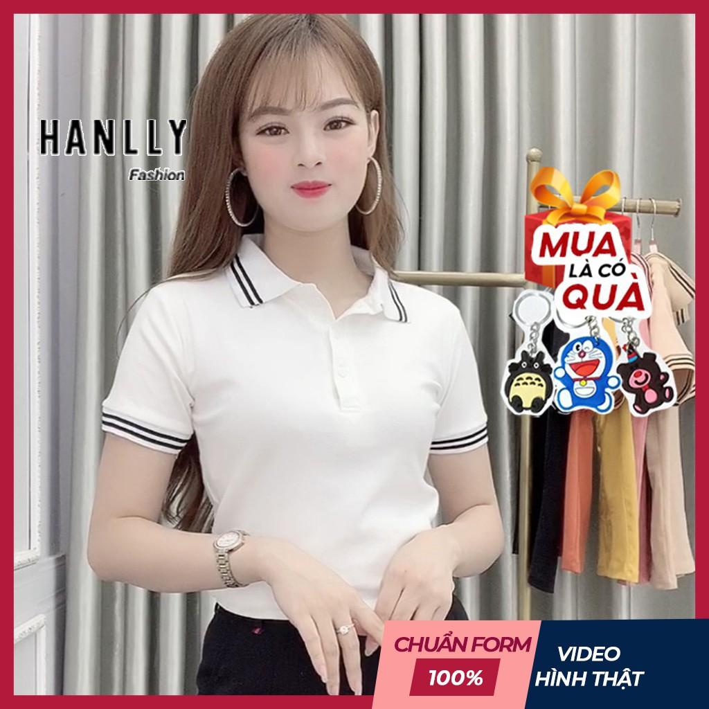 Áo Thun Polo Nữ Trơn Phông Basic Tay Ngắn Cổ Bẻ Cotton Trẻ trung đơn giản 6 Màu Trắng Đen Cam Vàng - Hanlly Fashion A21
