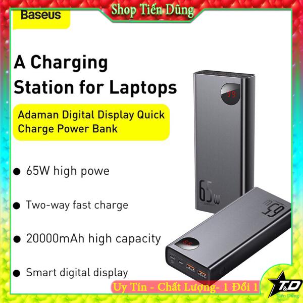 Pin sạc dự phòng 20000mAh baseus 65w có đèn Led hiển thị hỗ trợ sạc nhanh cho mọi thiết bị kể cả macbook