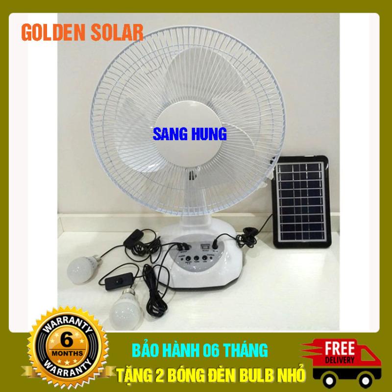 Quạt năng lượng mặt trời, quạt tích điện, quạt tích điện năng lượng mặt trời - Sanghung -Golden solar - tiện ích, - mẫu hot 2020, không remote, quạt tích điện 12, sạc bằng điện 220V hoặc NLMT