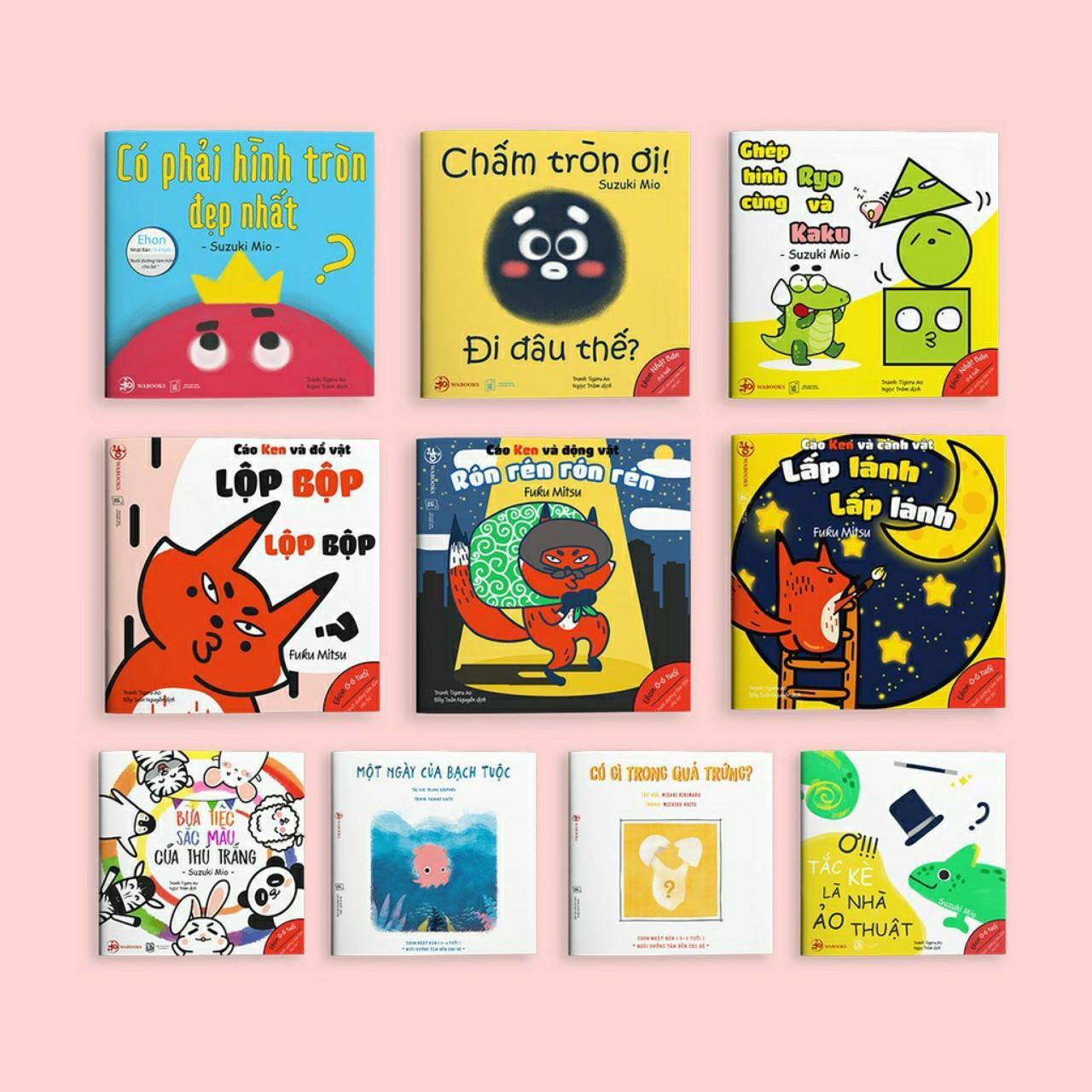Mua Combo 10 quyển Ehon Nhật Bản cho trẻ 0 - 6 tuổi ( Âm thanh, màu sắc, hình khối )