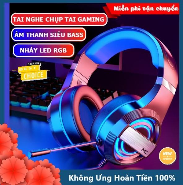 Bảng giá Tai nghe chụp tai gaming máy tính có đèn LED tự động đổi màu MC Q9 tích hợp mic đàm thoại headphone có dây cho máy tính laptop pc chơi game nghe nhạc cực đã có hai phiên bản 7.1 và 3.5mm Phong Vũ