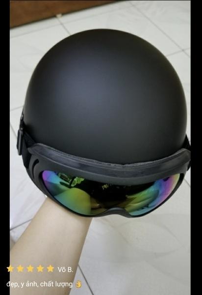 (Được Chọn Kính) Mũ Bảo Hiểm Nửa Đâu Đen Trơn, Nón Bảo Hiểm 1/2 hàng 3 Lớp Loại Đẹp