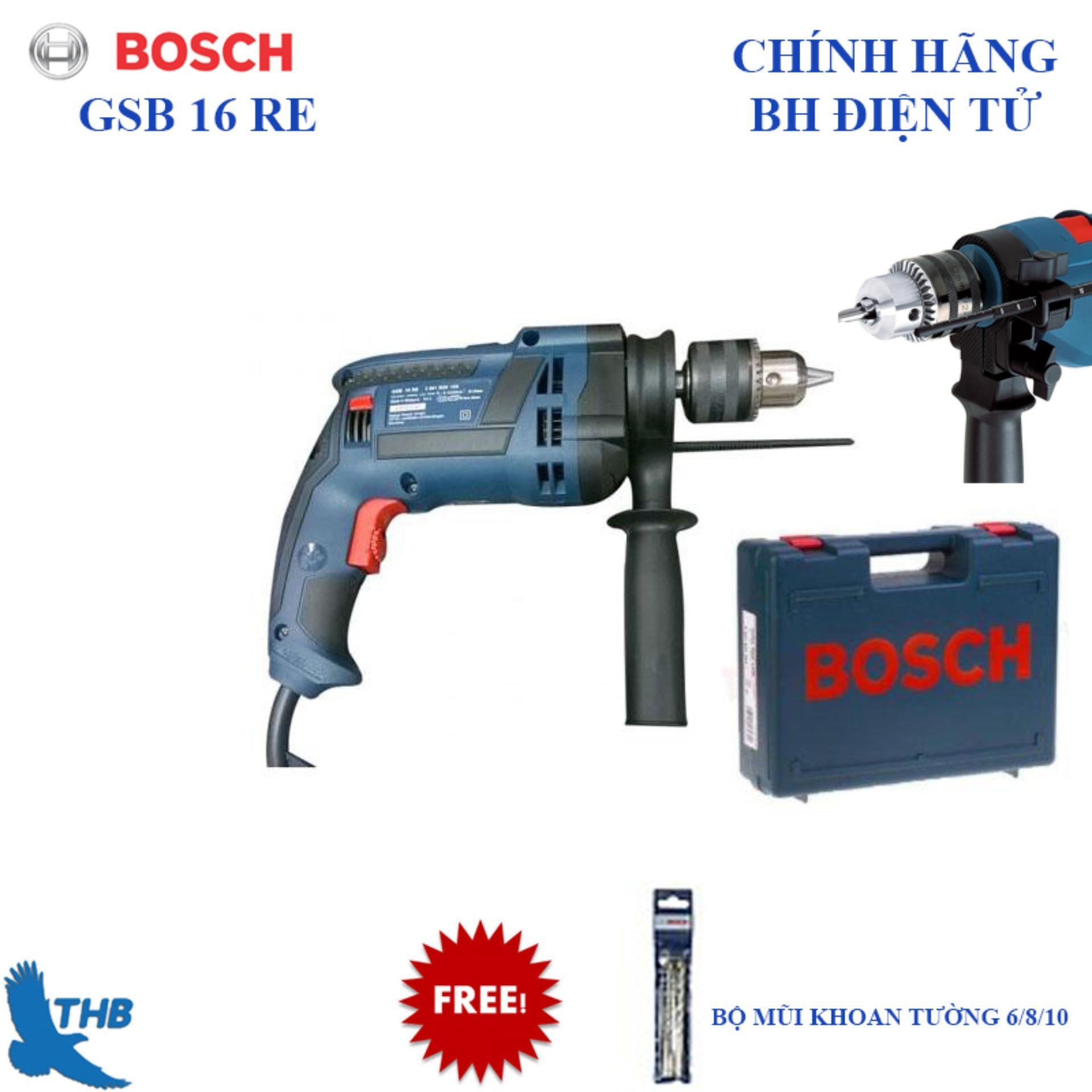 Máy khoan động lực Bosch GSB 16 RE ( Kèm hộp nhựa + 3 mũi khoan tường 6,8,10)