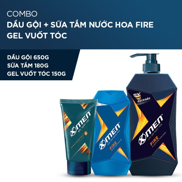 X Men -   Combo Dầu gội nước hoa X-Men Fire 650g + Sữa tắm 180g + Gel siêu cứng tóc 150g  - Giá Sỉ tốt nhất